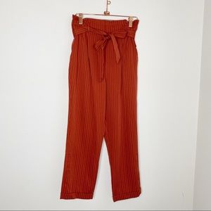 Burnt orange highwaisted paper bag style pants M